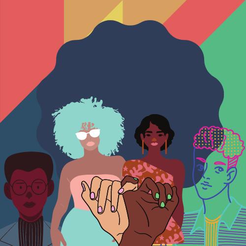 Illustration de diverses personnes, chevauchement de pinkies reliant
