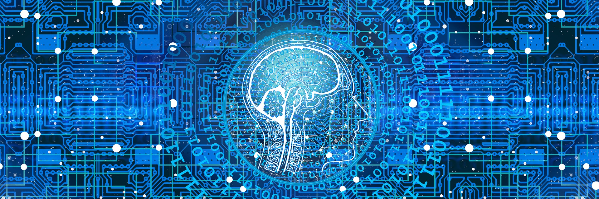 human brain with technology network